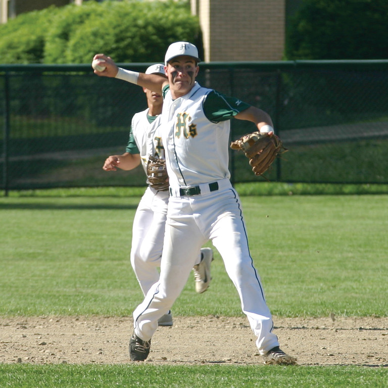 LETTING IT GO: Hendricken third baseman Ed Markowski makes a throw across the diamond during Tuesday's victory over Moses Brown.