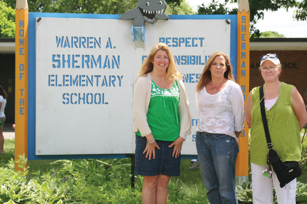 CLEAR CUT OBJECTIVE: Sherman Elementary School PTO officers Gail Erban, Shannon Twomey and Anne Goldman will host Sherman Shaves for Hasbro, a charity event at the school for the benefit of Hasbro Children's Hospital, on Saturday.