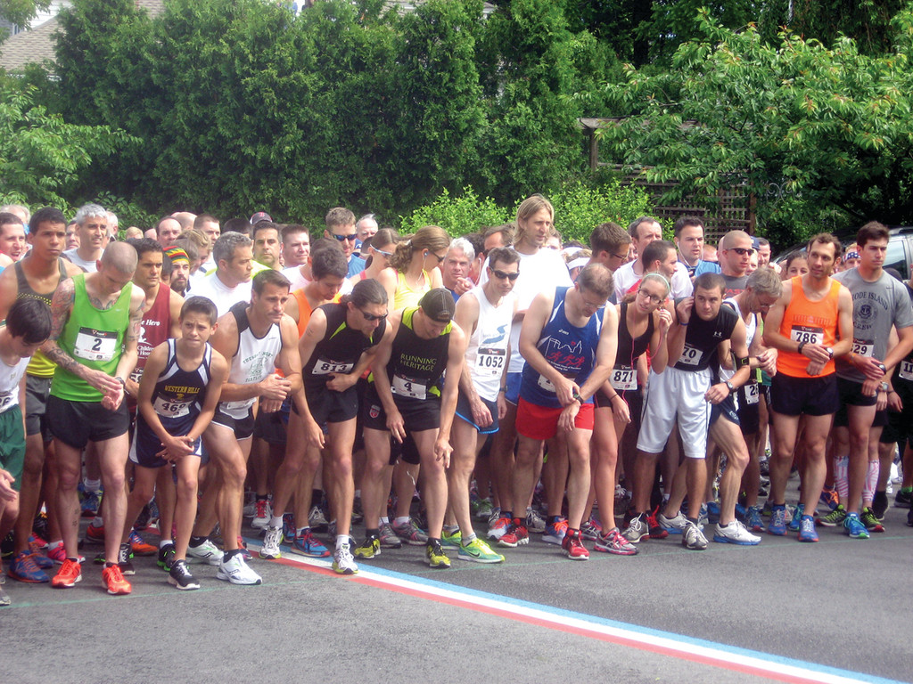 On Their Marks: The runners at the starting line just prior to Mayor Avedisian firing the staring gun.