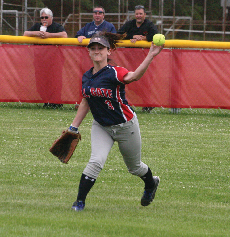 Laura Salisbury throws a ball in from the outfield on Thursday.