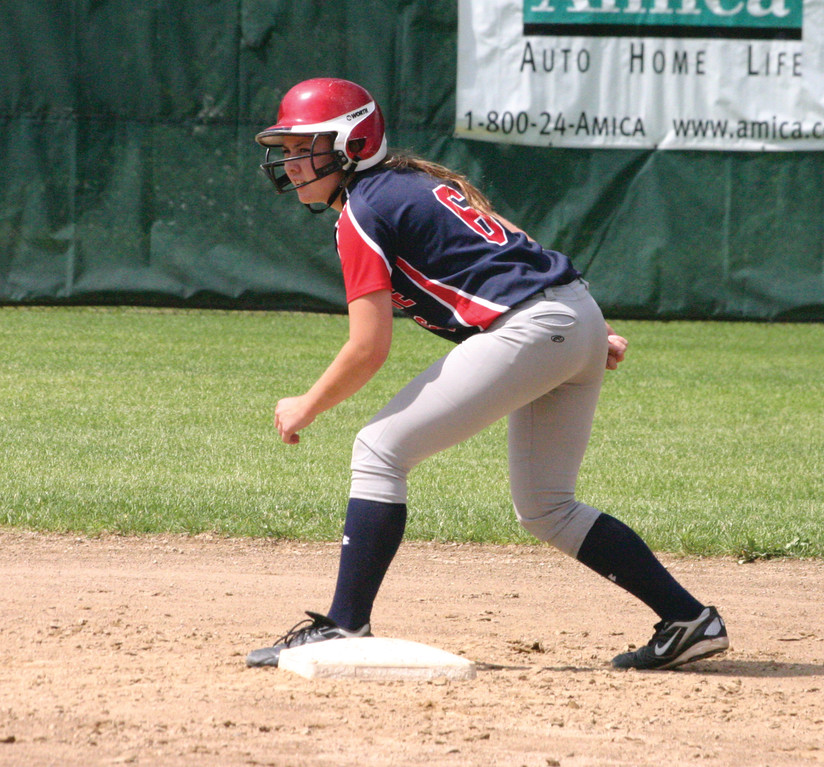 READY TO GO: Toll Gate�s Courtney Conklin gets set to run at second base in Sunday�s playoff game.