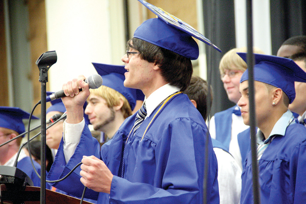 "LEAN ON ME: A Vets senior performing his solo in the chorus' rendition of ""Lean on Me."""