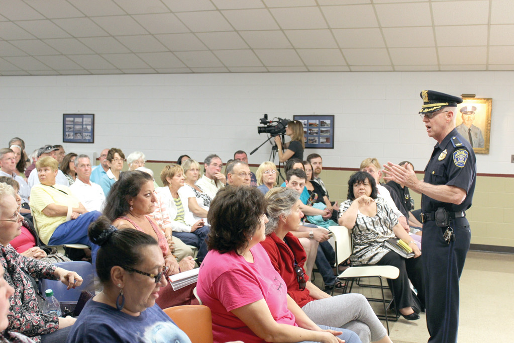 UPDATE: While police were mum on details about the murder in City Park last month, Col. Stephen McCartney assured the public the department will solve the crime. More than 125 citizens attended an informational meeting Wednesday.