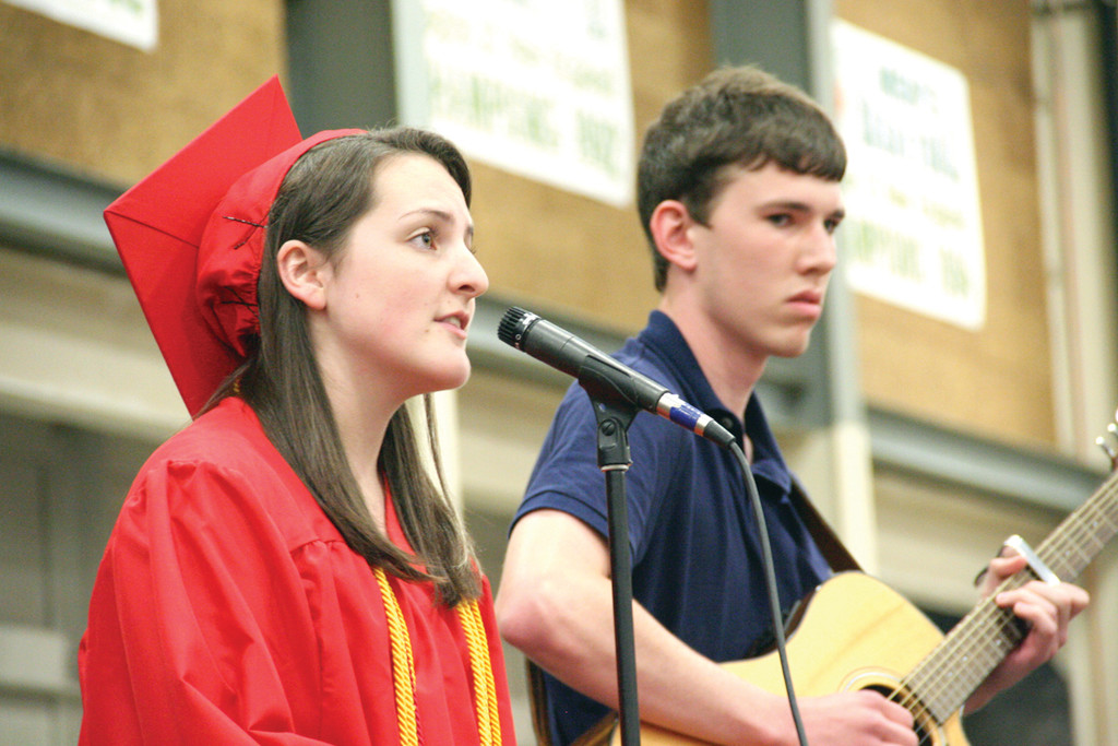 TIME MAKES YOU BOLDER: Senior Julia Paolino and guitarist Evan Carley perform �Landslide.�