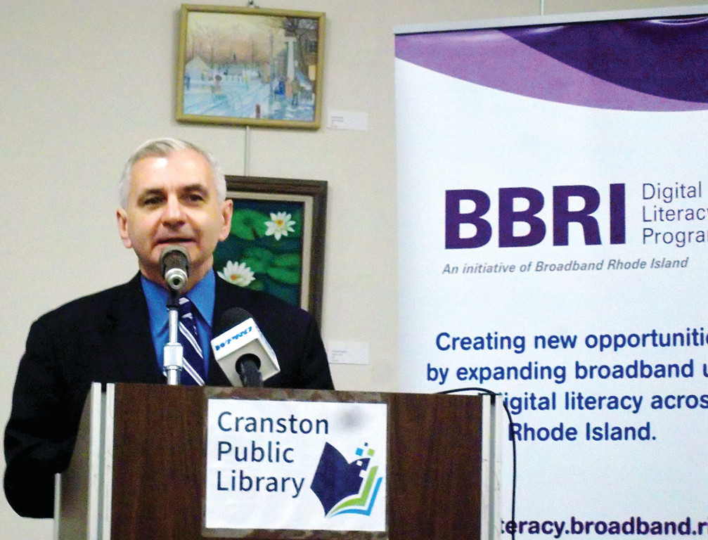 BOOKING ON JOBS: Senator Jack Reed (D-RI) addresses a group of trainers in the Digital Literacy class at Cranston Central Library on Friday. Reed came to town to promote the Workforce Investments through Local Libraries Act (WILL).