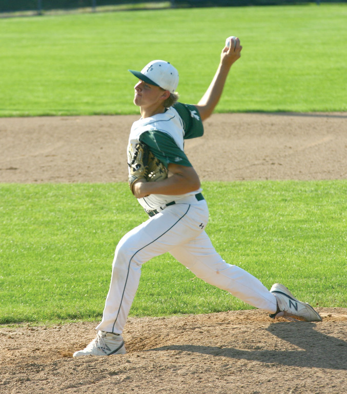 ON THE HILL: Mike King throws out a pitch in game one of Hendricken's semifinal series with Johnston over the weekend.