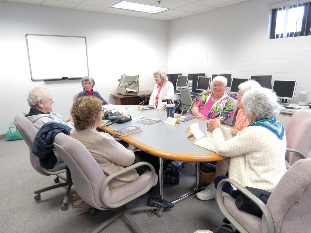 GOOD BOOKS AND GOOD FRIENDS: The women of the Pilgrim Senior Center Book Club meet once a month for a great discussion and a lot of laughs. Members include (from far left) Katherine Johnson, Betty Challgren, Bea Dragon, Gail Felix, Joyce Guncheon, Lois Blazer and Trish Felton.
