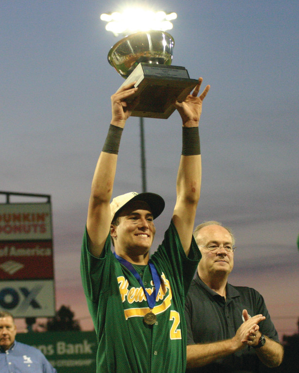 TOP BILLING: Series MVP Ed Markowski shows off his trophy.