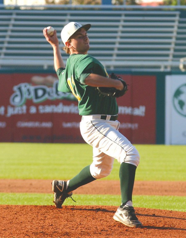 TITLE TOWN: Mike McCaffrey delivers a pitch in game two of the championship series at McCoy Stadium.