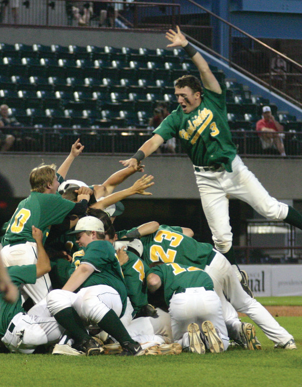 CELEBRATION ELEVATION: Rob Henry leaps onto the pile as Hendricken celebrates its second consecutive state championship. The Hawks won the title with a 7-4 victory over North Kingstown on Thursday night at McCoy Stadium.