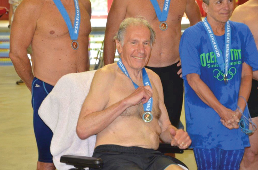 NOBLE CHAMPION: Multiple Sclerosis didn't stop Barry Glucksman, 70, from competing in the 2013 Rhode Island Senior Olympics. The avid swimmer earned a gold medal earlier this month in the 50-yard backstroke.