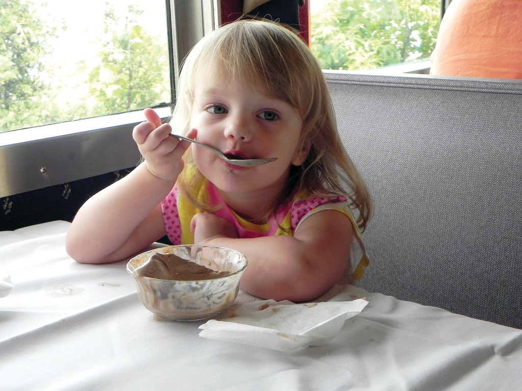 AMELIA BENNETT of Alexandria, VA, was taken to sundae school on the Ice Cream Train last Saturday. She was visiting her grandparents Bill and Gloria Manchester in Warwick when they got word of the train.