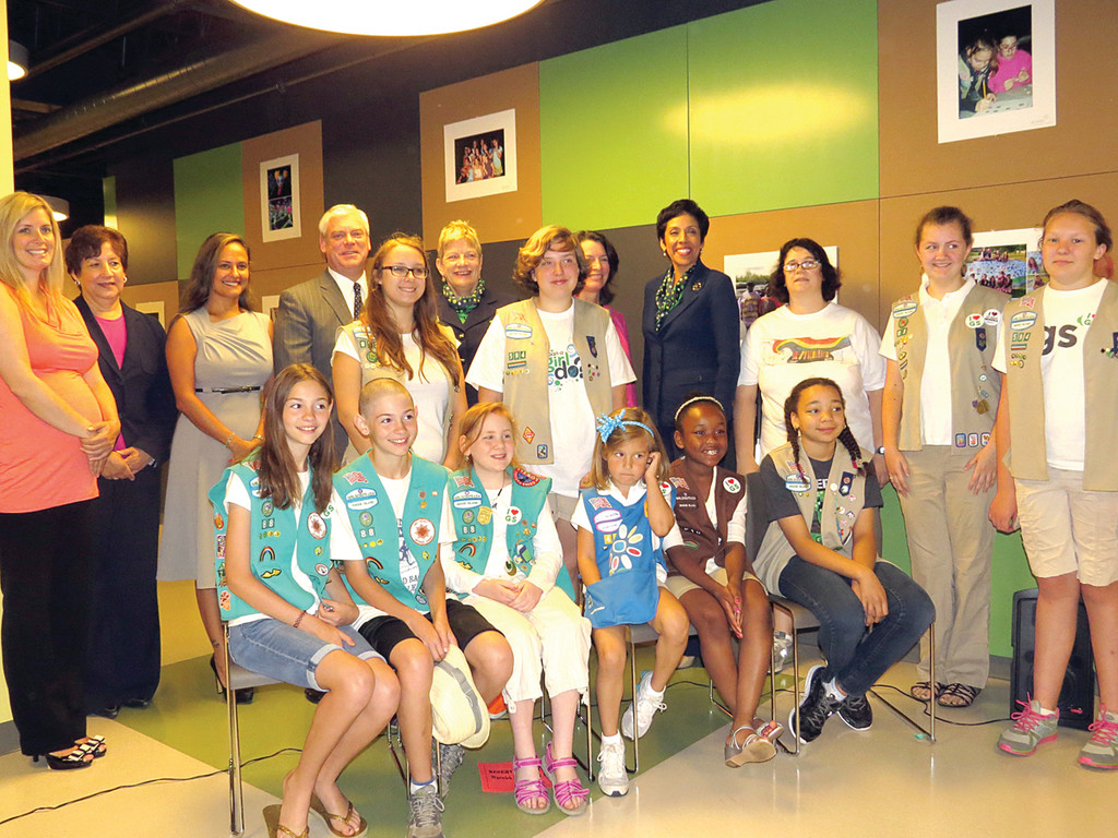 LEADERS OF THE FUTURE: Members of the Girl Scouts of Rhode Island attended Thursday�s press conference and had the opportunity to meet Girl Scouts of America CEO Anna Maria Chavez, who said the new facility and leadership center was �one of the most beautiful centers in the country.�