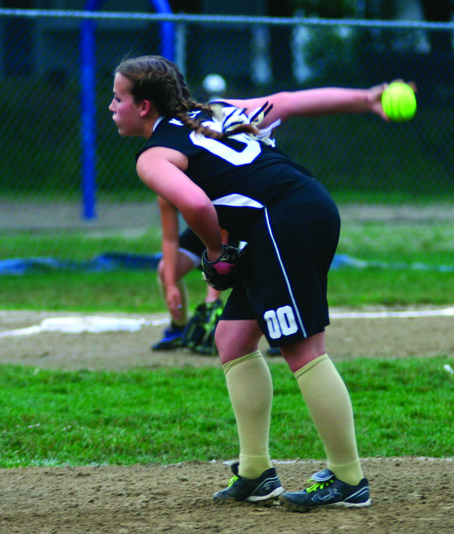 Katrina Kazen winds up for a pitch.