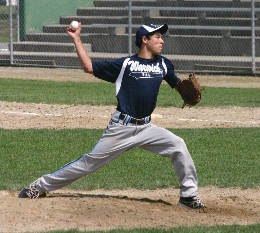 DOMINATING: Above, David DeFusco delivers a pitch for the Warwick PAL 14-year-old all-star team on Sunday.