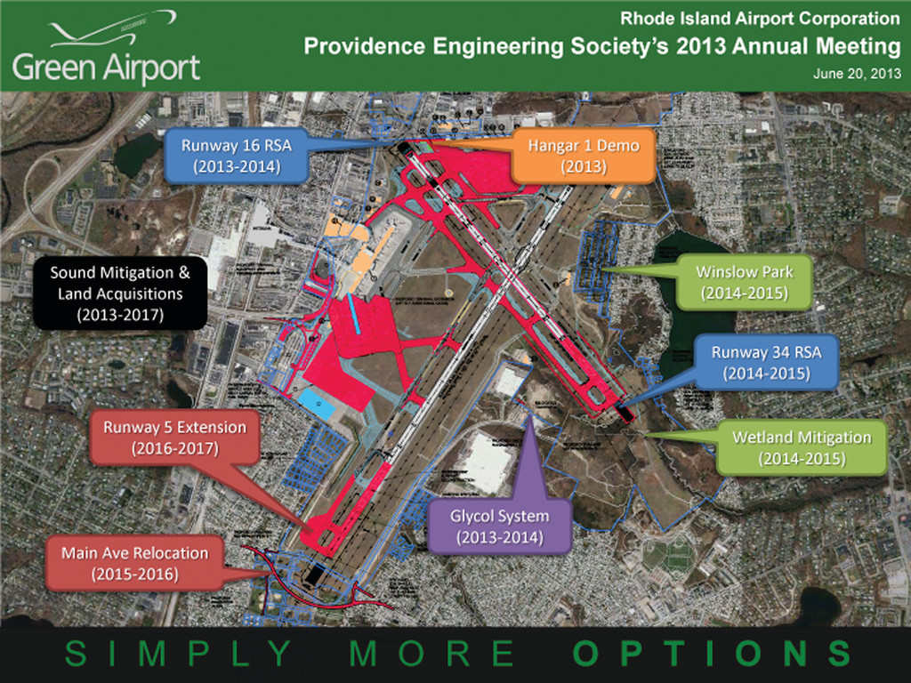 WHERE AND WHEN: This overlay of an aerial photograph of the airport details construction projects through 2017.
