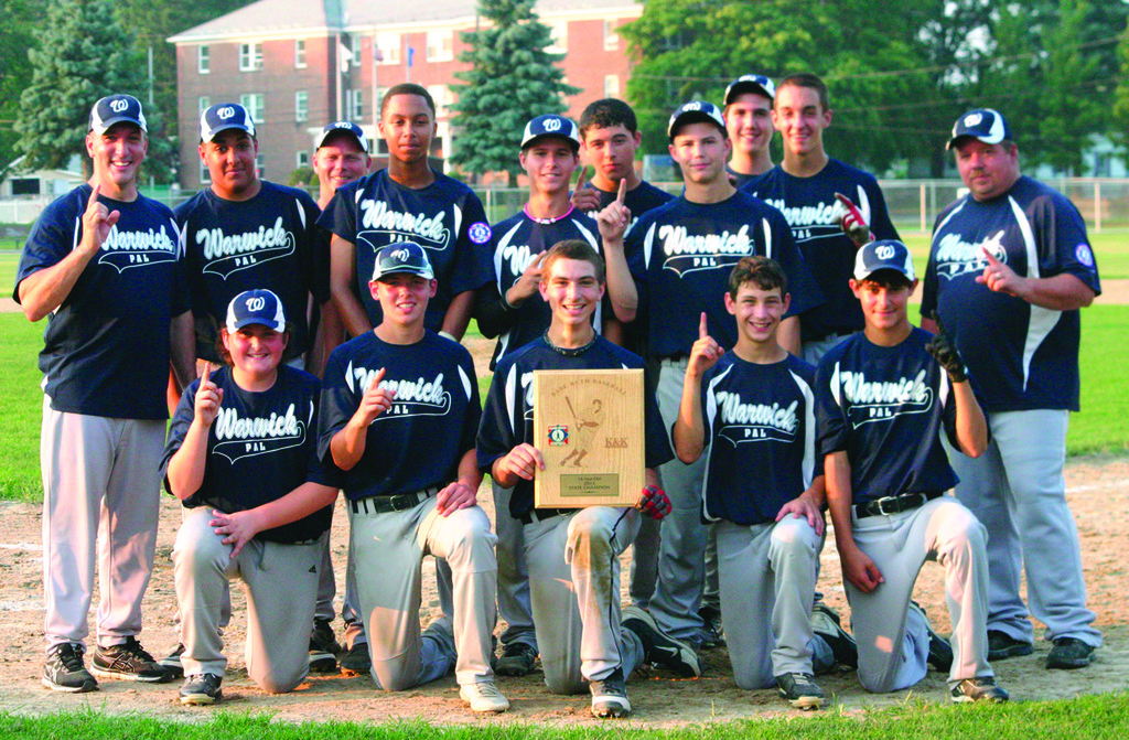 TWIN TITLES: The Warwick PAL 14-year-old all-stars pose with their championship plaque after winning the state title. The squad also won the state championship as 13-year-olds last summer.