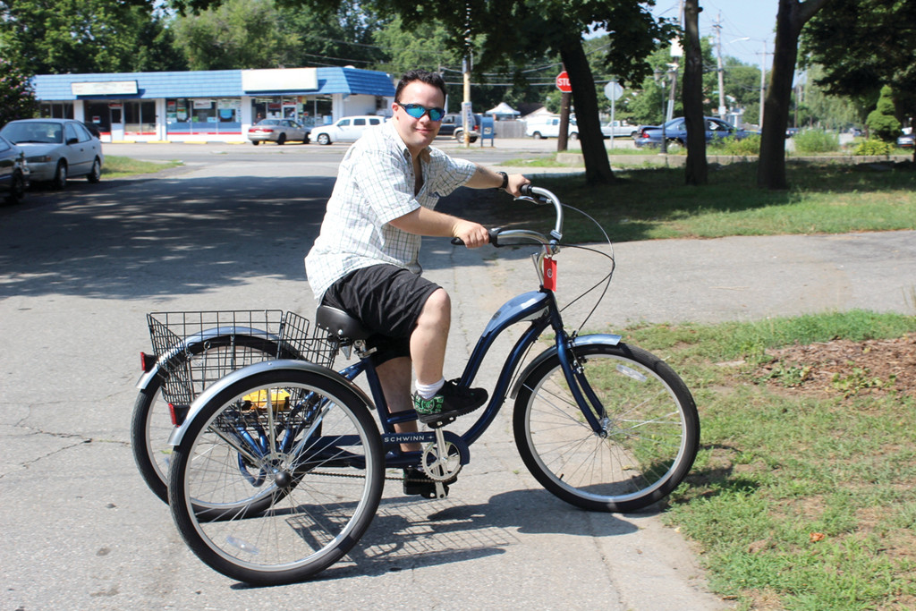 RIDING HIGH: After his tricycle was stolen from his backyard, Stephen DeSisto takes his newly donated Schwinn for a spin. Members of the Rhode Island Brotherhood of Correctional Officers made the generous contribution last week.
