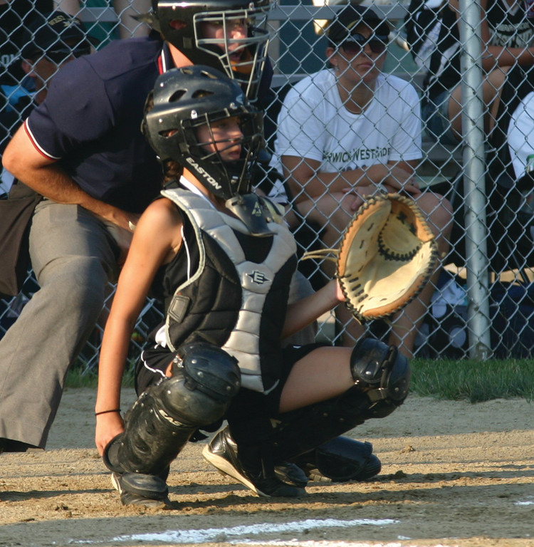 ON THEIR WAY: Dyanna Rodas gets set behind the plate for West Side in the district championship.