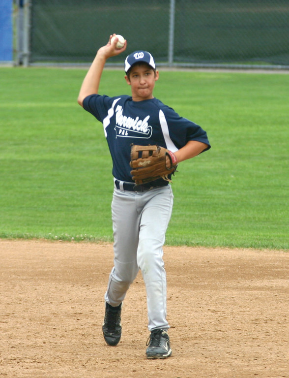 OVER THE TOP: Zach D'Andrea fires a ball across the diamond during Babe Ruth 13-year-old state tournament action last week. Warwick was eliminated on Thursday with an 8-6 loss to Cranston.