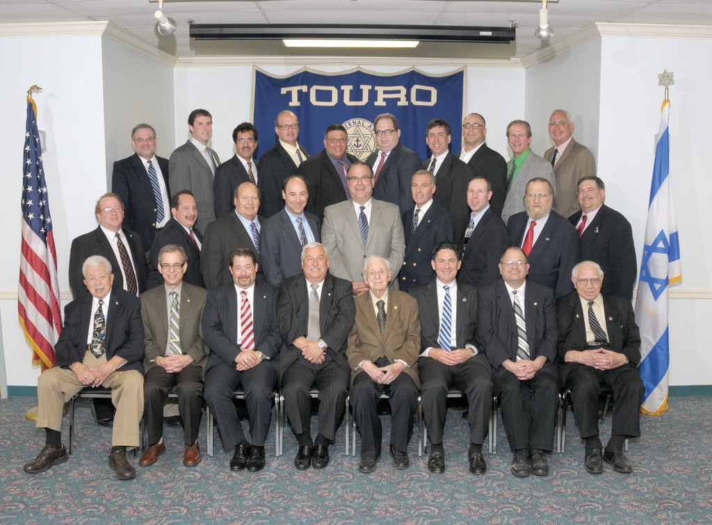 BOARD MEMBERS: Touro Fraternal Association Directors & Officers for 2013-2014 are: First Row: Nathan Lury, director; Lester Nathan, president, Friendship Lodge; Andrew Liss, vice president, Friendship Lodge; Michael Smith, Milton Bronstein, directors; Jeffrey Padwa, vice president, Harmony Lodge; Barry Schiff, director; Judah Rosen, Association chaplain. Second Row: Max Guarino, inside guard, Friendship Lodge; Adam Halpern, Barry Shaw, directors; Jed Brandes, chairman, Board of Directors; Robert Miller, chairman emeritus, Board of Directors; Steven Waldman, director and Association treasurer; Richard Cohen, secretary, Friendship Lodge; Rodney Locke, director; Alan Lury, vice chairman, Board of Directors. Third Row: Ried Redlich, director; Andrew Shuster, secretary, Harmony Lodge; Manochehr Norparvar, treasurer, Harmony Lodge; Steven White, Stevan Labush, Jeffrey Davis, Bruce Weisman, directors; Marc Gertsacov, Association secretary; Norman Dinerman, director and president, Harmony Lodge; Andrew Lamchick, director. Not Shown: Arthur Poulten, chairman emeritus, Board of Directors; Michael Levin, treasurer, Friendship Lodge; Max Dinerman, inside guard, Harmony Lodge.