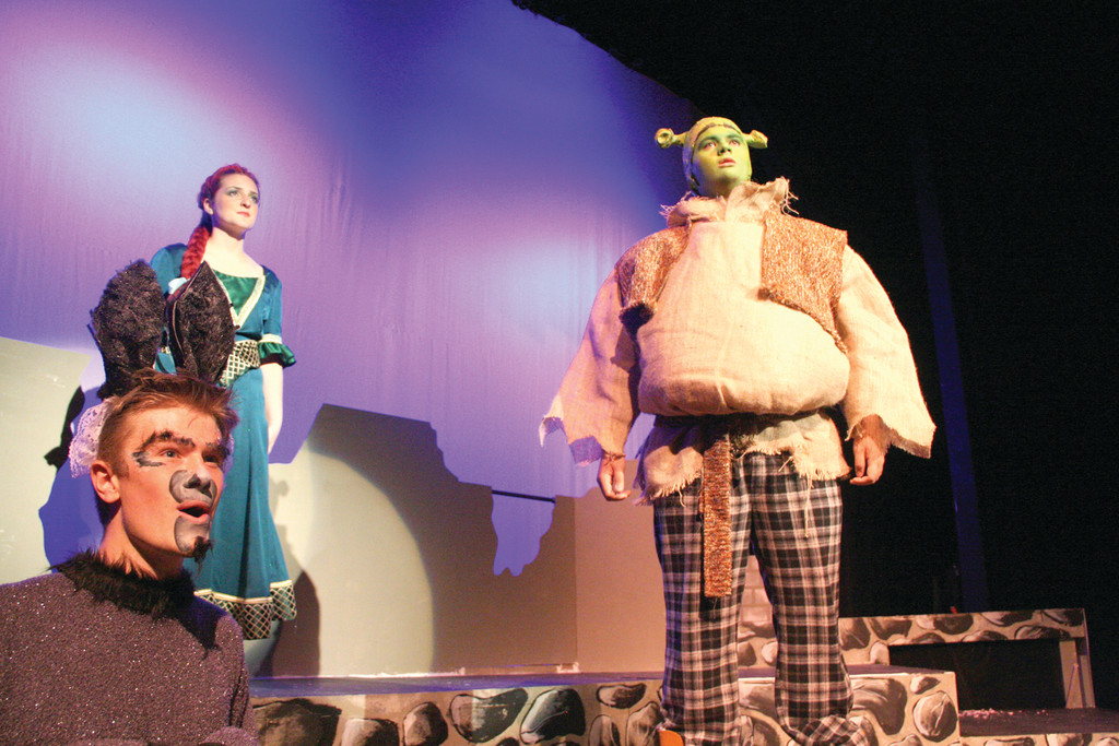Shrek with the donkey  and Fiona, who is played by Julia Paolino.