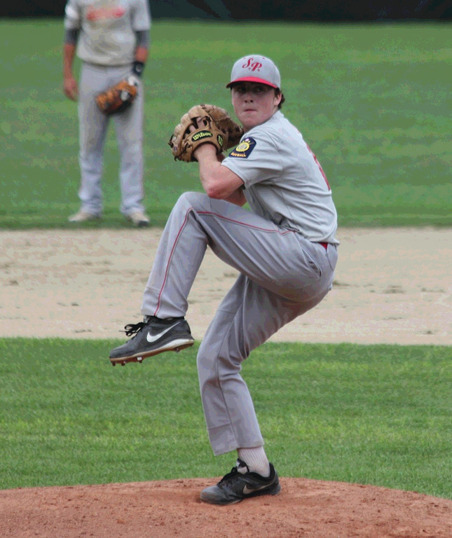 ON TARGET: Mike Webb makes a pitch for Senerchia Post 74 in Sunday�s American Legion playoff action. Senerchia swept North Providence Post 29 for a spot in the final eight.