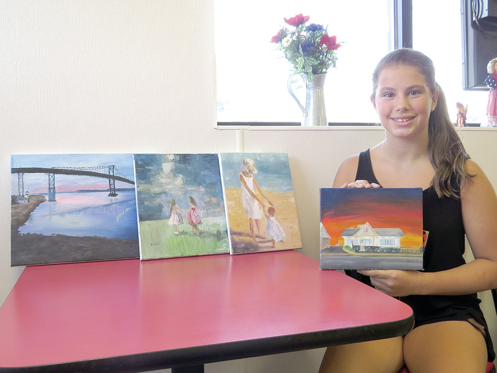 PAINTING PRODIGY: Fourteen-year-old Alicia Censabella, who has been painting since she was 5 years old, says it takes her anywhere from six to 15 hours to complete one of her many pieces. The painting she did of Papa's Ice Cream (in her hands) took about six hours to complete.