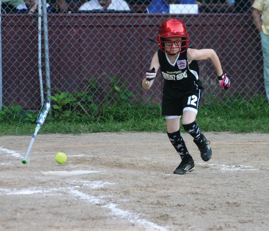 Maeve Malloy sprints down the first base line.
