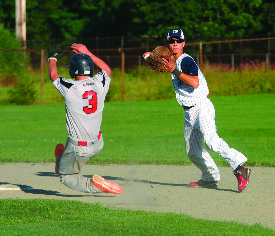 TURN IT: Warwick shortstop Alex Lefebvre turns a double play during game one of the series with Cranston.