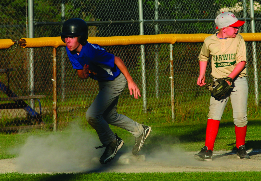 DUST STORM: Connor Marot breaks for home during Tuesday's game.