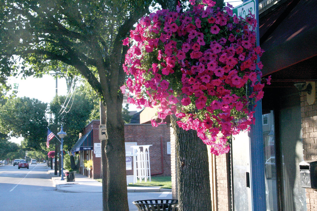 Now in full bloom, planters along West Shore Road have added their color to Conimicut Village. The village association annual spring fling dinner and auction provides funding for the hanging plants as well as the money to have them watered throughout the summer.