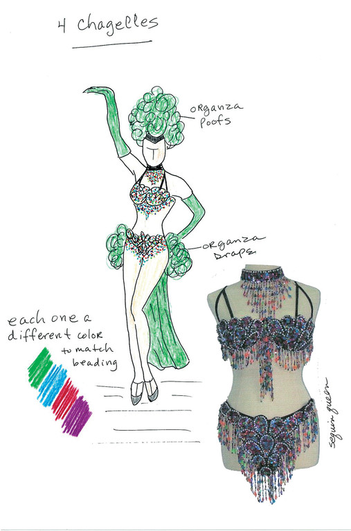 FIRST THINGS: One of the first things a costume designer must do is sketch an idea so that her collaborators can see what she sees. This is a pre-production sketch for La Cage aux Folles, now playing at the Theatre by the Sea in Matunuck.