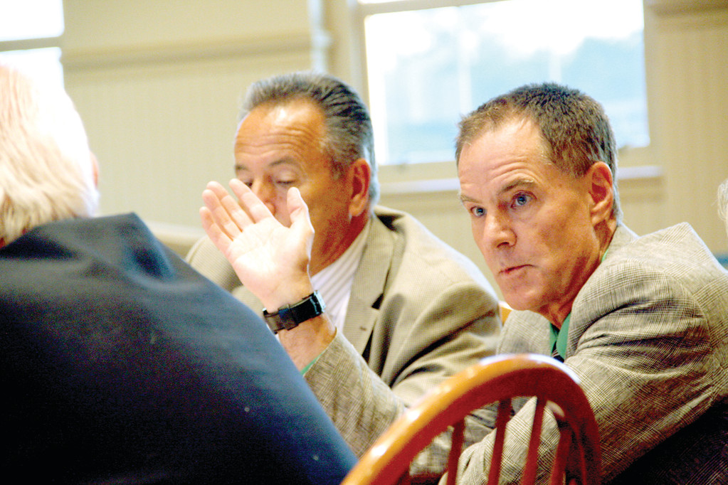 ANGERED: Zoning Board member Richard Corley questioned why the contractor removed a foundation wall from the former house on the site when it was supposed to have remained.