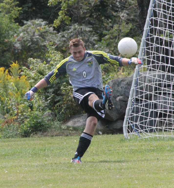 CLEAR IT: CCRI goalkeeper Rob Gallucci punts the ball after making a save during a game last year.