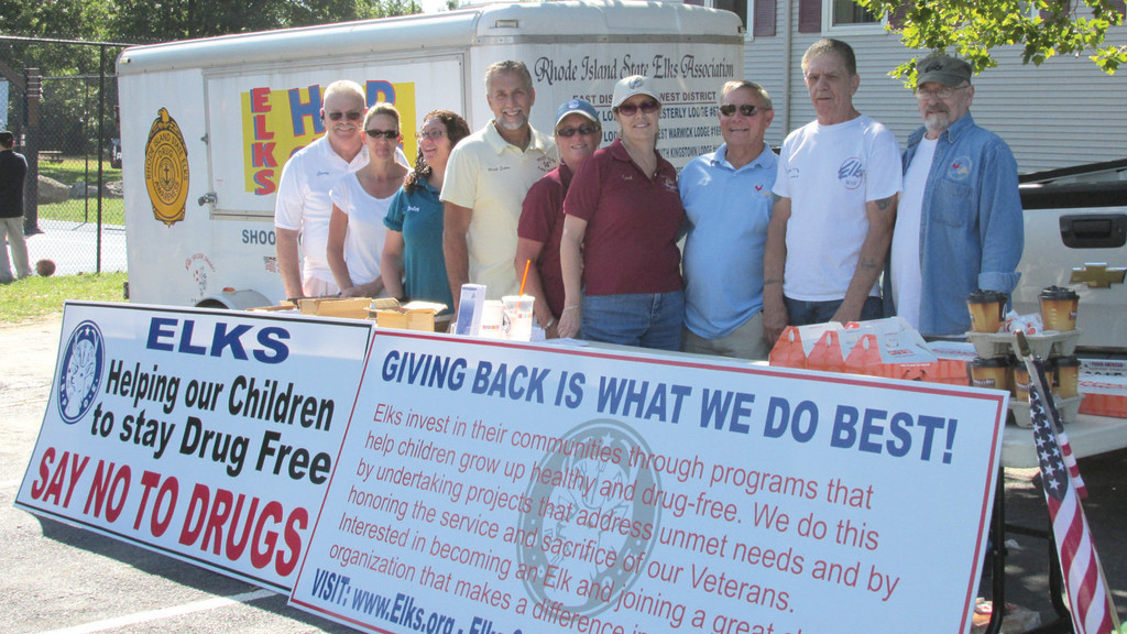 Members of the Elks Lodge volunteered at a concession stand and for a substance abuse program. Left to right, Jerry Halleck, Cheryl Devlin, Leslie Grimes, Mark Eaton, Lori Eaton, Carol Delory, Cookie Delory, Nick Rossi and Dick Warner.