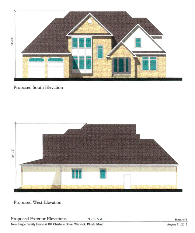FLIPPED: The house now planned for 187 Charlotte Dr. in Potowomut would require zoning board approval of a side yard setback. The garage has been moved from the right to the left side of the building.