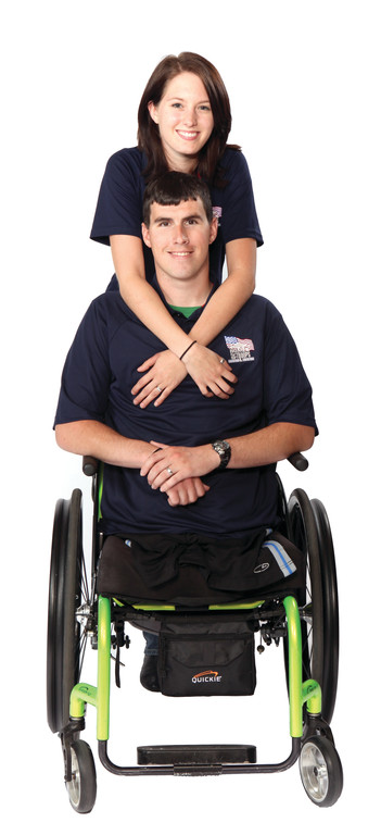 NEW HOME: After losing both legs while doing a tour of duty in Afghanistan, Marine Cpl. Kevin Dubois and his wife Kayla are looking forward to moving into their wheelchair-accessible house. It is made possible through Homes For Our Troops, along with other sponsors, including CertaPro Painters of southern Rhode Island, who is hosting a fundraiser in support of the cause Sept. 11.