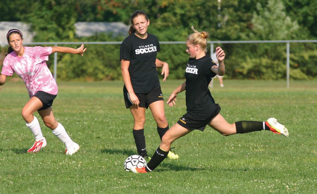 SENDING IT IN: Kendra Levesque winds up to take a kick in the middle of the field last Wednesday.