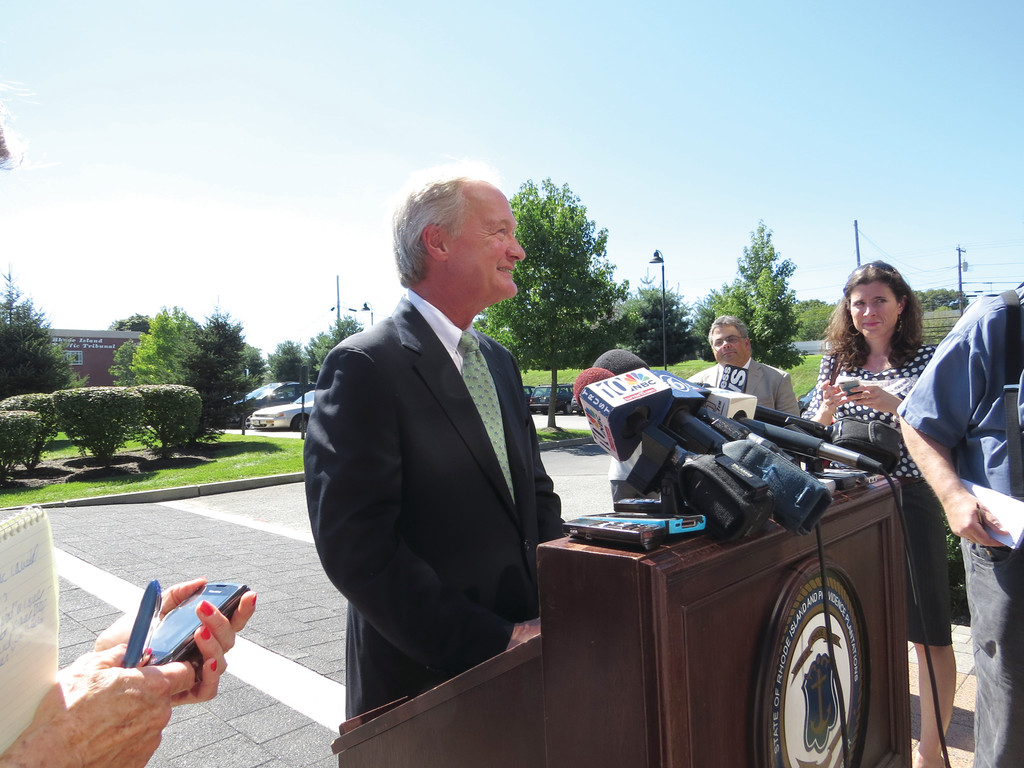 BIG ANNOUNCEMENT: Yesterday afternoon, a press conference was held in front of the Cranston DMV building where Governor Lincoln Chafee announced that he would not be seeking re-election in November 2014, choosing to focus on the issues instead of a campaign.