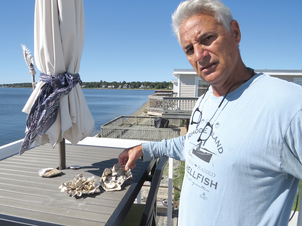 "REVITALIZING THE BAY: Robert Morvillo hopes to create an ""oyster renaissance"" in Conimicut by putting a sustainable oyster farm in a three-acre portion of Narragansett Bay in front of his property."