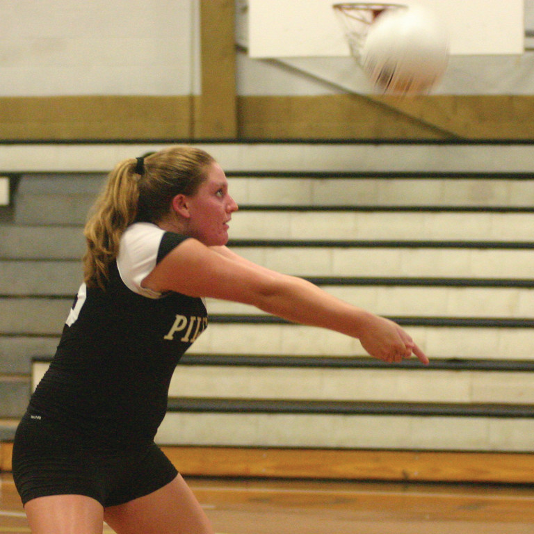 BUMPING: Pilgrim's Sara Dacey gets in position to receive a serve during last week's season opener.