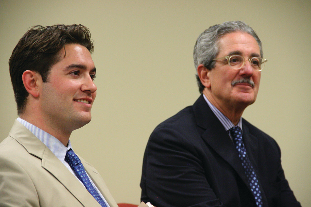ALL SMILES: Developers Michael Integlia Jr. and his son, Michael III, didn�t volunteer a single word as the city Planning Board approved Tuesday the subdivision of the Leviton property they have an agreement to purchase.