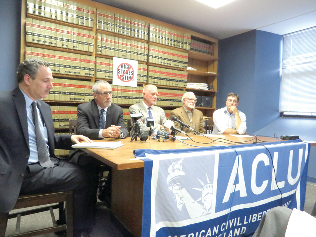 DEMANDING HONESTY: ACLU Executive Director Steven Brown, ACLU volunteer attorney Mark Gursky, former RIDE director of the Office of Middle and High School Reform Ken Fish, former RIDE employee in the Office of Testing Rick Richards, and plaintiff and concerned parent Thomas Sgouros came together yesterday morning to announce their third legal action against the Rhode Island Board of Education, claiming that the vote in executive session regarding their previous petition violates open meeting laws.
