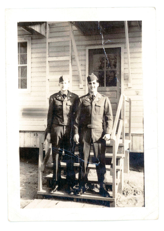 ALL DRESSED UP: Tom Pagliarini (right) was a reservist in the National Guard when the Korean War broke out. He was among the first Rhode Islanders to be sent there. He and a fellow soldier posed for this before they left the states.