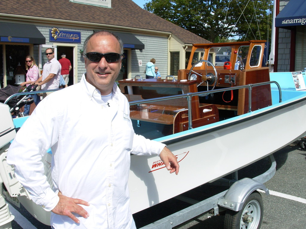 Restoration perfectionists: Michael Borrelli of Metan Marine restores vintage boats. Seen here this past weekend at the Newport Boat Show with a 21 foot 1969 Boston Whaler Sakonnet.
