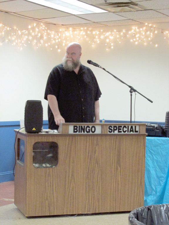 Musician and Tri-City Elks Lodge No. 14's Leading Knight Charlie Greaves calls a number during the Bingo games that have resurfaced in Warwick after an absence of more than 20 years.