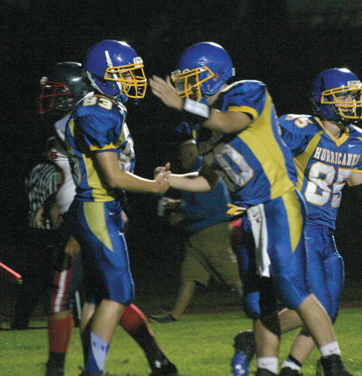 BIG START: Vets' Jeremy Morrissette and Tim Hogan celebrate a touchdown in Friday's win over Toll Gate.