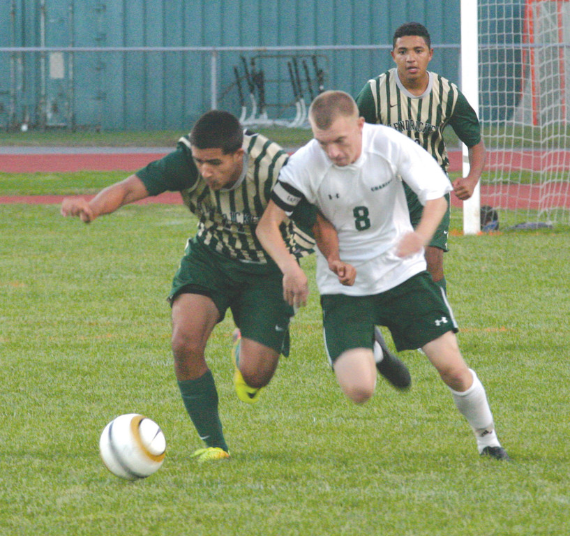 BATTLING: Brandon Silvestri fights for possession on Thursday.
