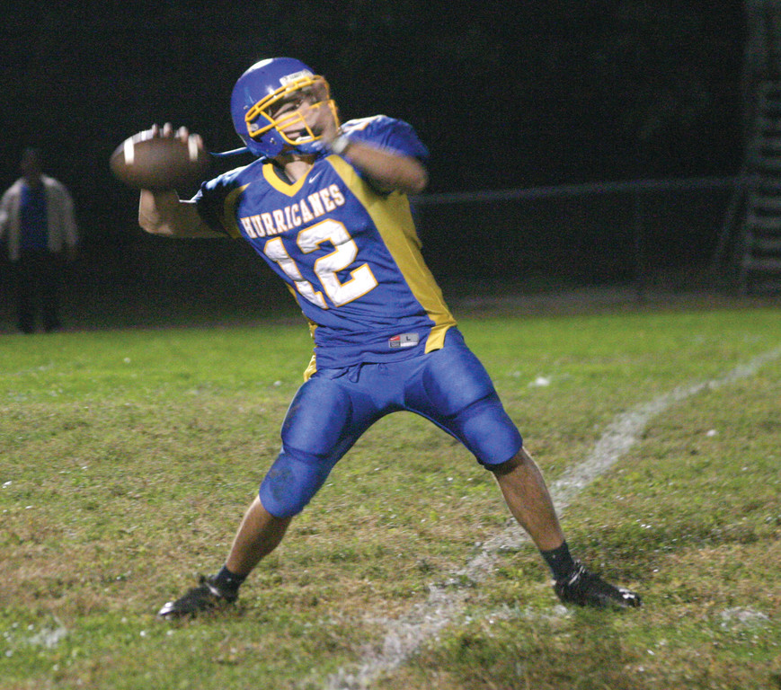 UNLOADING: Warwick Vets quarterback Jesse Sedoma winds up for a long pass in Friday